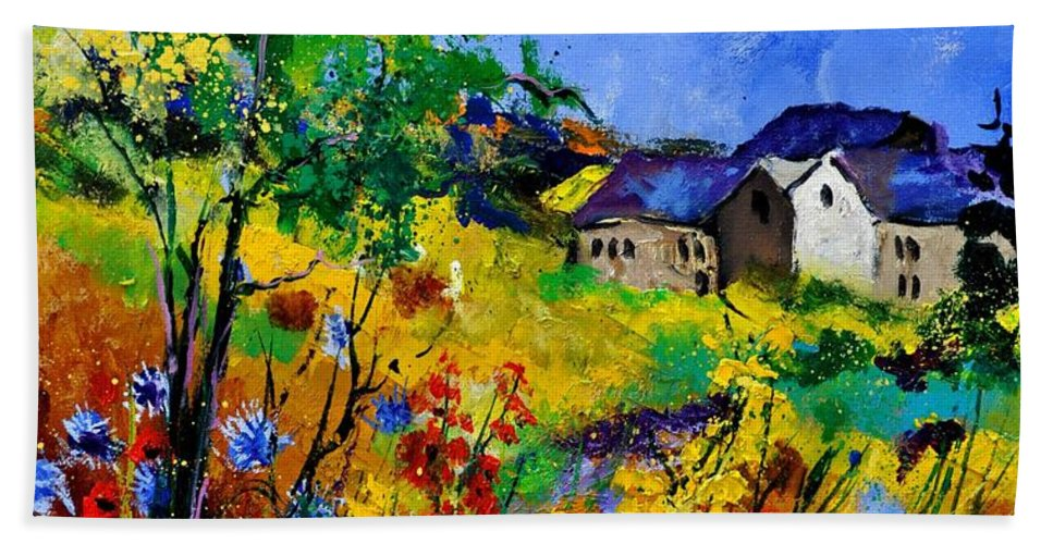 Landscape Hand Towel featuring the painting Summer 673180 by Pol Ledent