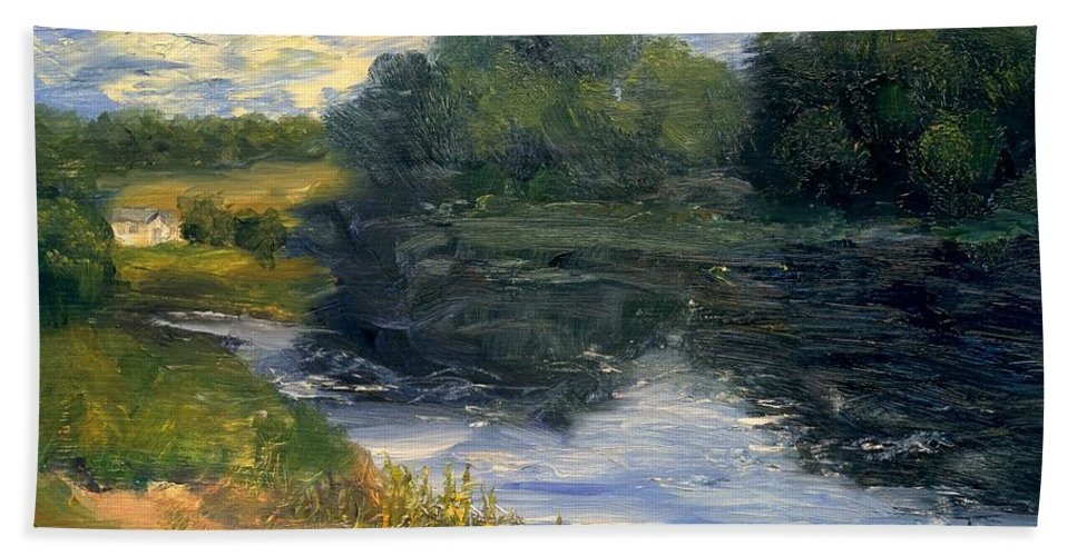 Landscape Bath Towel featuring the painting Summer At Jackson Lake by Gail Kirtz