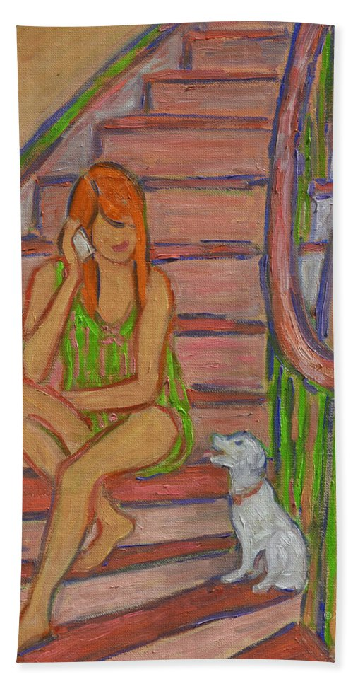 Girl Hand Towel featuring the painting Summer Chat by Xueling Zou