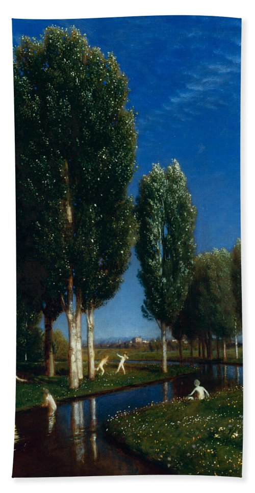 Arnold Boecklin Hand Towel featuring the painting Summer Day by Arnold Boecklin