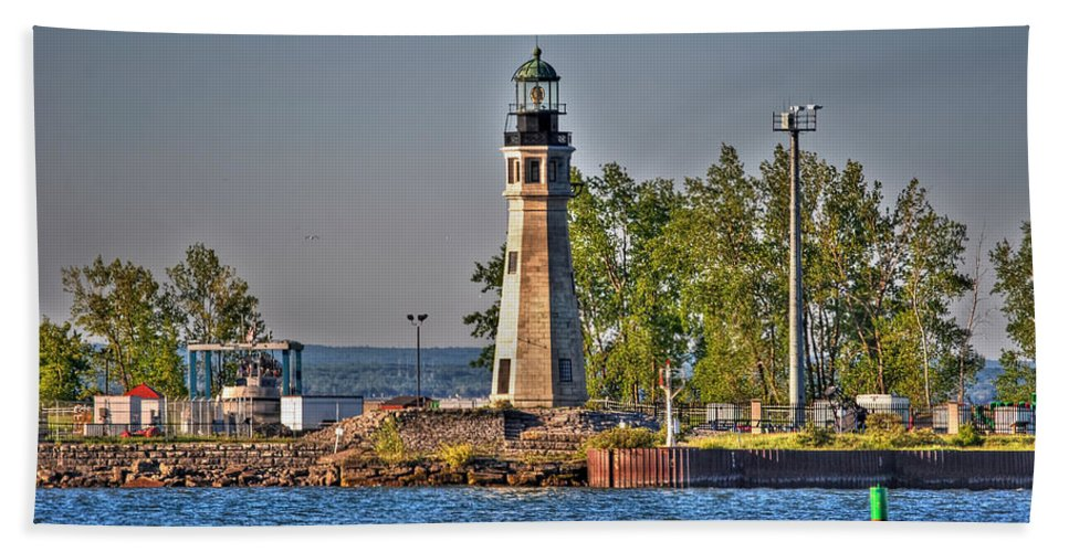 Lighthouse Hand Towel featuring the photograph Summer Day View Of The Lighthouse by Michael Frank Jr