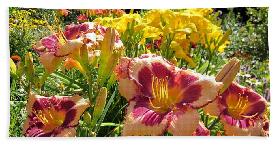Blushing Summer Valentine Hand Towel featuring the photograph Summer Daylilies by MTBobbins Photography