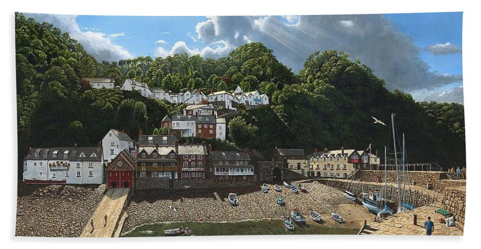 Landscape Hand Towel featuring the painting Summer Evening Clovelly North Devon by Richard Harpum