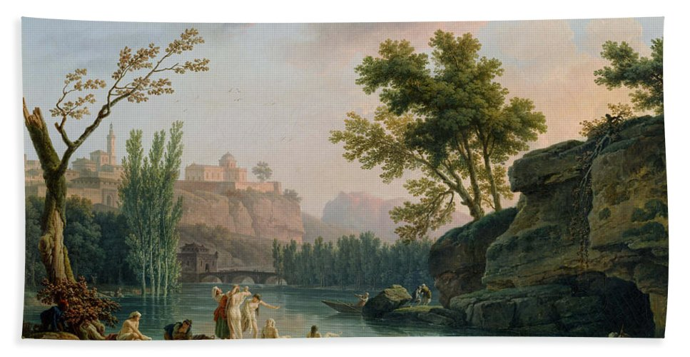 Claude Joseph Vernet Hand Towel featuring the painting Summer Evening Landscape In Italy by Claude Joseph Vernet