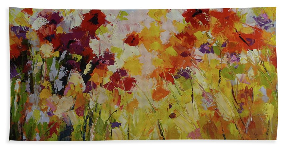 Garden Hand Towel featuring the painting Summer Field by Yvonne Ankerman