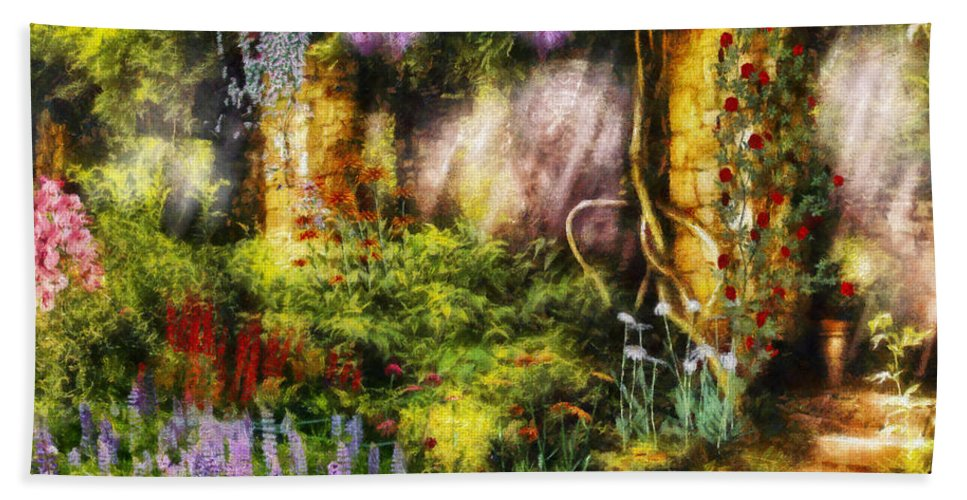 Savad Bath Sheet featuring the digital art Summer - I Found The Lost Temple by Mike Savad