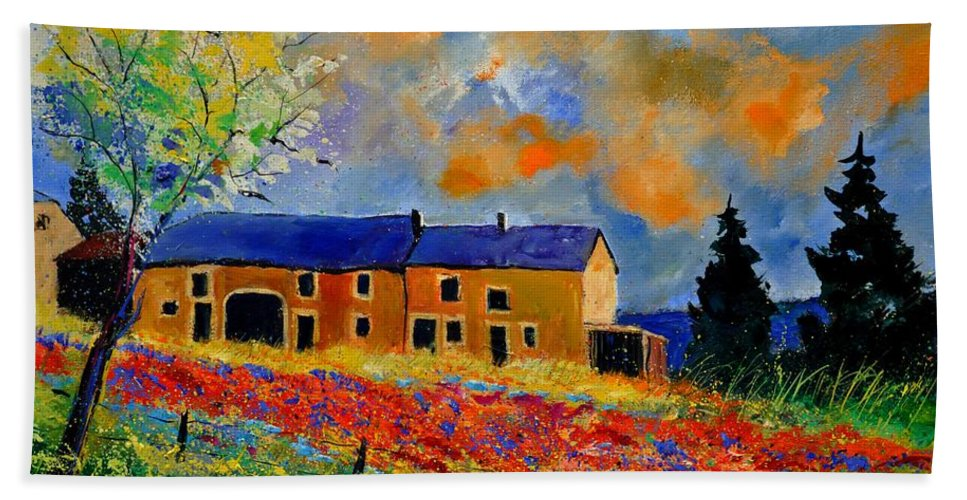 Landscape Bath Sheet featuring the painting Summer In Houroy 57 by Pol Ledent
