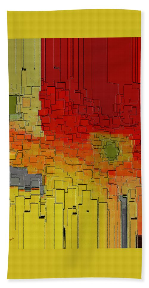 Urban Abstract Hand Towel featuring the digital art Summer In The Big City - Fantasy Cityscape by Ben and Raisa Gertsberg