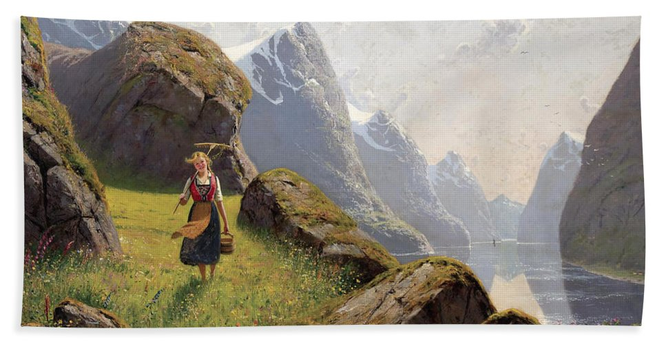 Hans Dahl Bath Sheet featuring the painting Summer In The Fjord by Hans Dahl