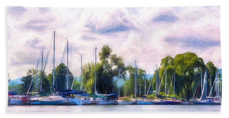 Michele Bath Sheet featuring the digital art Summer Morning At Johnson's Boatyard by Michele Steffey