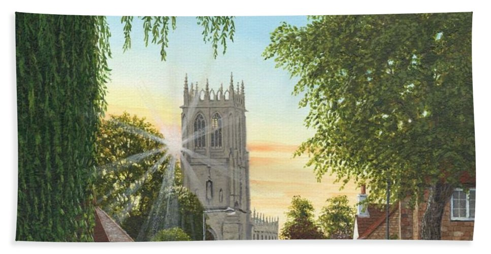 Landscape Bath Towel featuring the painting Summer Morning St. Mary by Richard Harpum