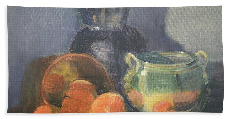 Still Life Bath Sheet featuring the painting Summer Oranges by Lilibeth Andre