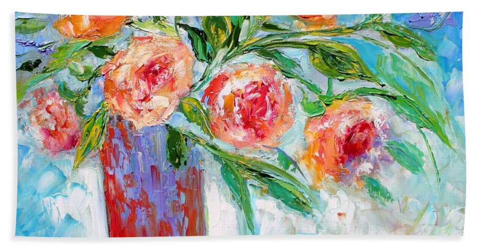 Flowers Paintings Hand Towel featuring the painting Summer Roses by Karen Tarlton