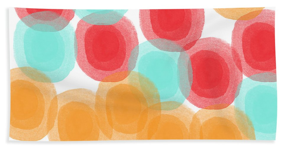 Abstract Circles Hand Towel featuring the painting Summer Sorbet- abstract painting by Linda Woods