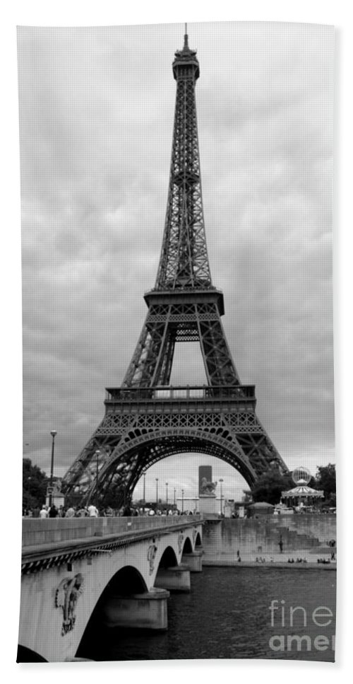 Architecture Hand Towel featuring the photograph Summer Storm Over The Eiffel Tower by Carol Groenen