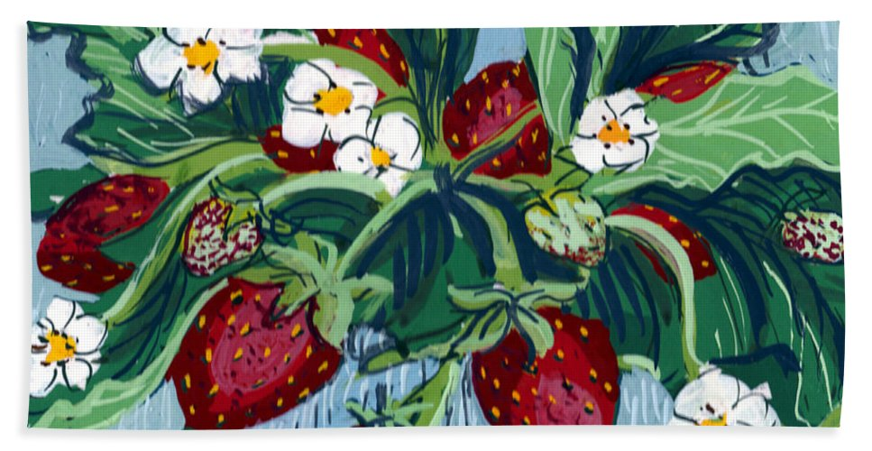 Summer Bath Sheet featuring the painting Summer Strawberries by Mary Palmer