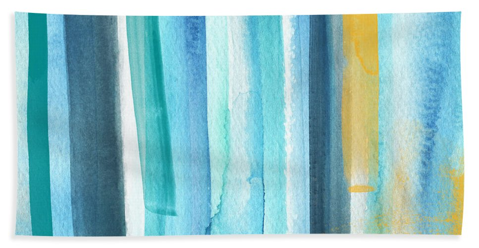Water Bath Towel featuring the painting Summer Surf- Abstract Painting by Linda Woods
