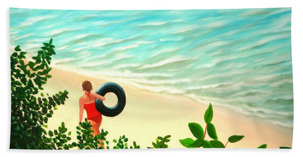 Summer Bath Sheet featuring the painting Summer Swim by Liz Boston