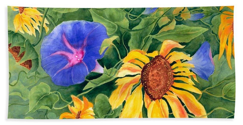 Sunflower Bath Sheet featuring the painting Summer Tango by Rhonda Leonard