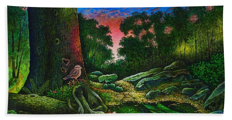 Summer Bath Sheet featuring the painting Summer Twilight In The Forest by Michael Frank