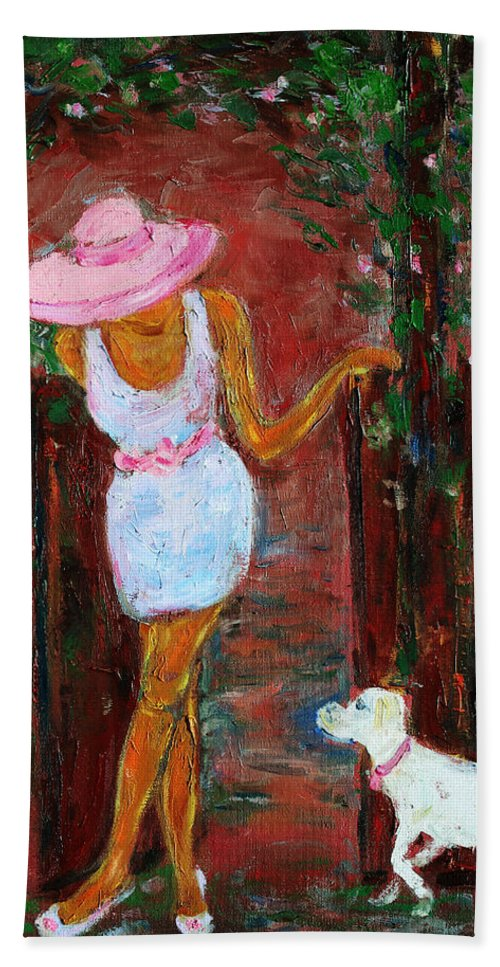 Figurative Hand Towel featuring the painting Summer Visitor by Xueling Zou