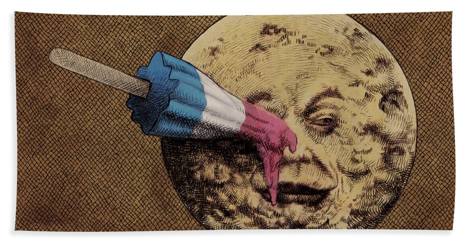 Moon Hand Towel featuring the drawing Summer Voyage by Eric Fan