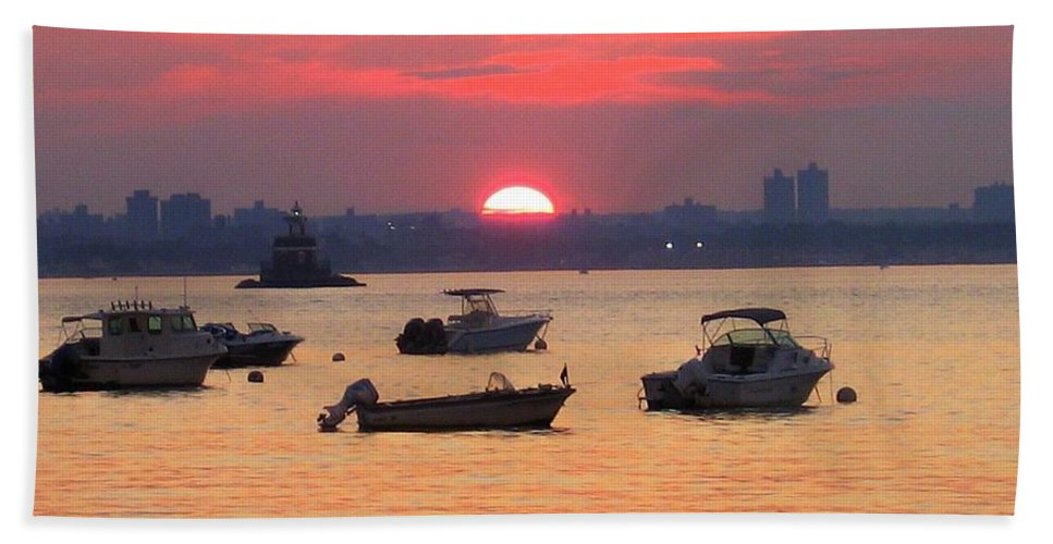 Sunset Hand Towel featuring the photograph Late Summer Sunset Over The Bay by Dora Sofia Caputo Photographic Design and Fine Art