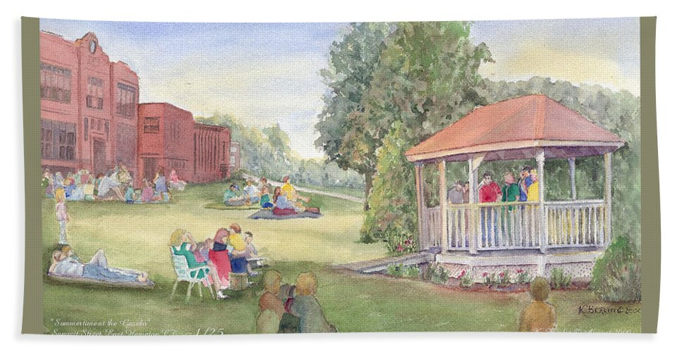 East Hampton Bath Sheet featuring the painting Summertime At The Gazebo by Katherine Berlin