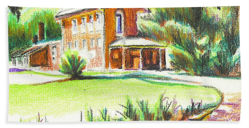 Summertime At Ursuline No C101 Hand Towel featuring the painting Summertime At Ursuline No C101 by Kip DeVore