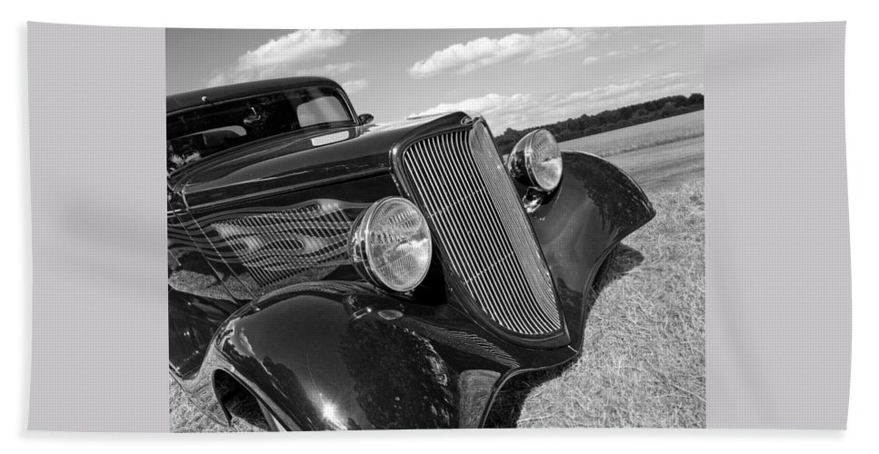 Hotrod Hand Towel featuring the photograph Summertime Blues In Black And White - Ford Coupe Hot Rod by Gill Billington