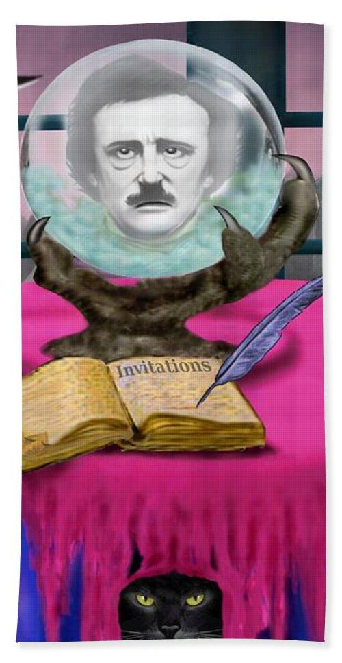 Edgar Allan Poe Art Bath Sheet featuring the digital art Summoning Edgar Allan Poe by Glenn Holbrook