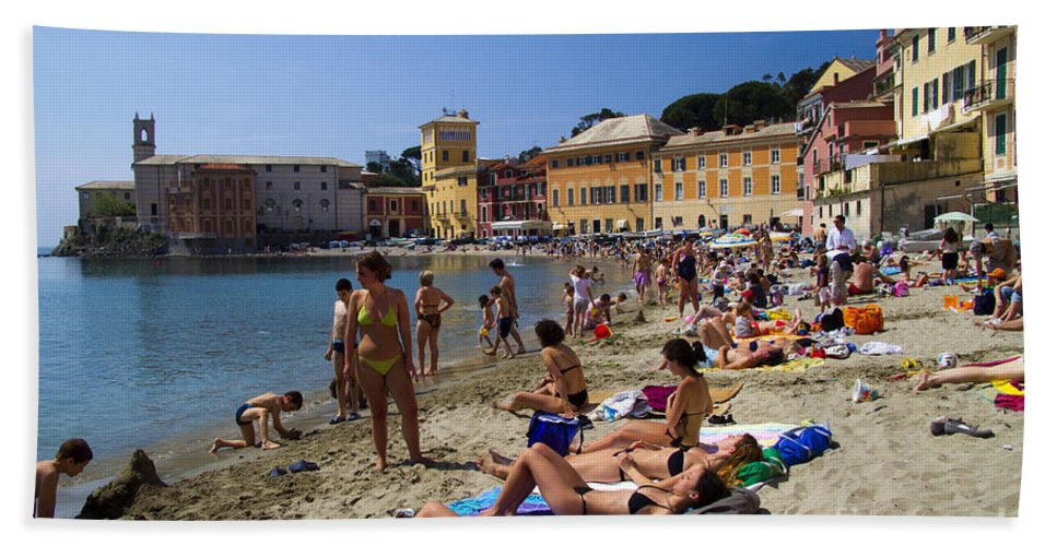 Sestri Levante Bath Sheet featuring the photograph Sun Bathers In Sestri Levante In The Italian Riviera In Liguria Italy by David Smith