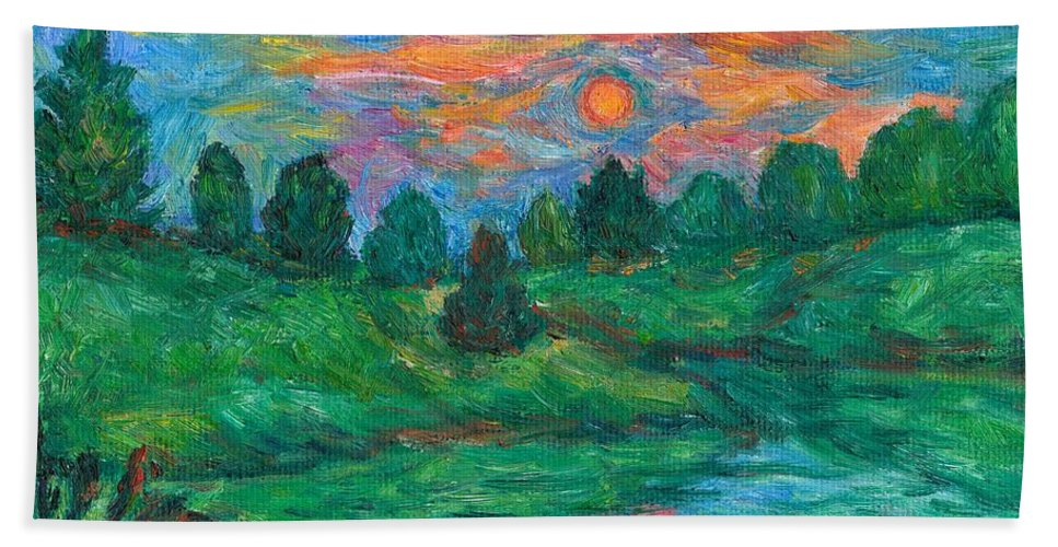 Sunset Bath Sheet featuring the painting Sun In Water by Kendall Kessler