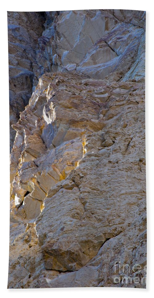 Golden Canyon Death Valley National Park California Rock Formation Rocks Formations Desert Deserts Landscape Landscapes Desertscape Desertscapes Canyons Bath Sheet featuring the photograph Sun Kissed At The End Of The Day by Bob Phillips