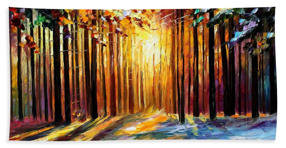 Leonid Afremov Bath Sheet featuring the painting Sun Of January - Palette Knife Landscape Forest Oil Painting On Canvas By Leonid Afremov by Leonid Afremov