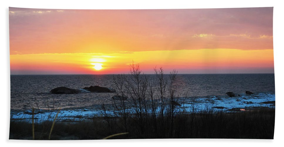 Lake Michigan Bath Sheet featuring the photograph Sun On Water by Linda Kerkau