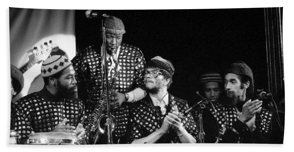 Jazz Bath Sheet featuring the photograph Sun Ra Arkestra With John Gilmore by Lee Santa