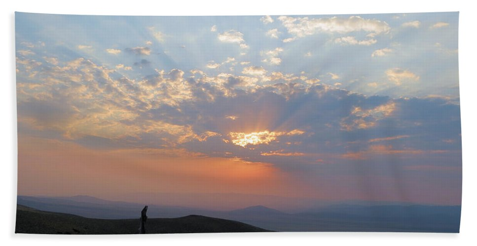 Sun Hand Towel featuring the photograph sun rays II by Darcy Tate