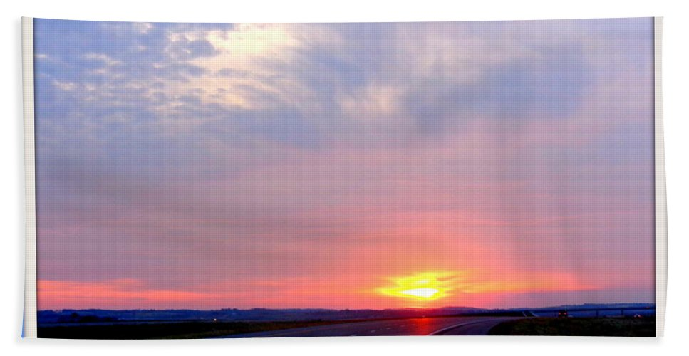 Glorious Hand Towel featuring the photograph Sun Set Going Home On The Toll Road by Victoria Beasley