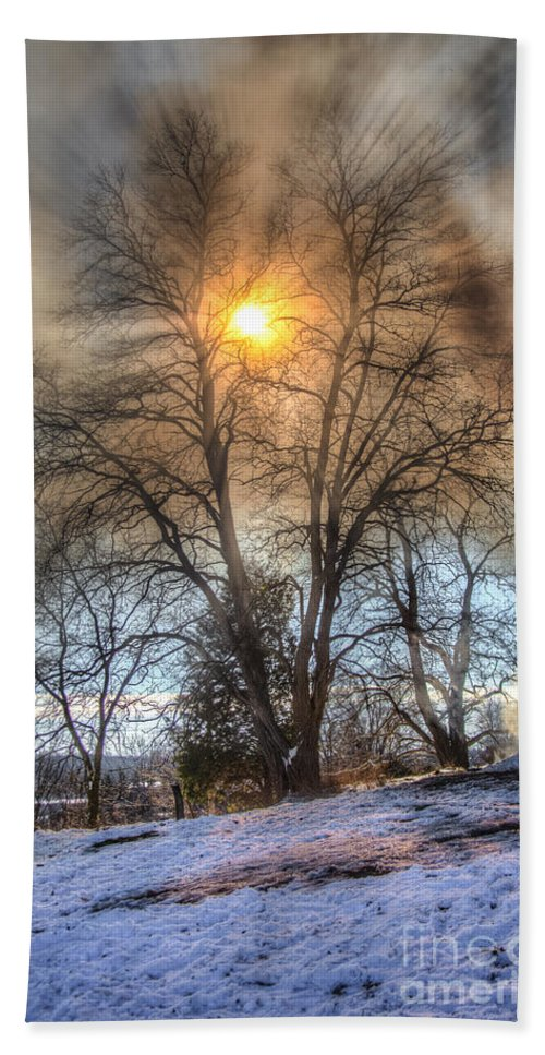 Fire Hand Towel featuring the photograph Sun Thru Smoke by Andrew Slater