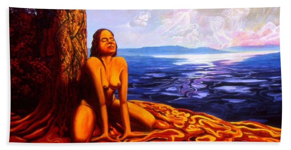 Genio Bath Sheet featuring the painting Sun Woman by Genio GgXpress
