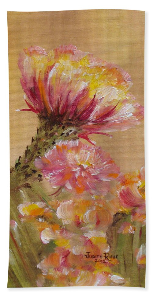 Cactus Bath Sheet featuring the painting Sun Worshipper by Judith Rhue