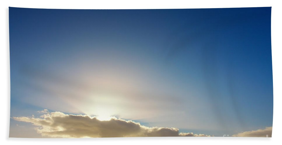 Backgrounds Hand Towel featuring the photograph Sunbeams Behind Clouds by Jan Brons