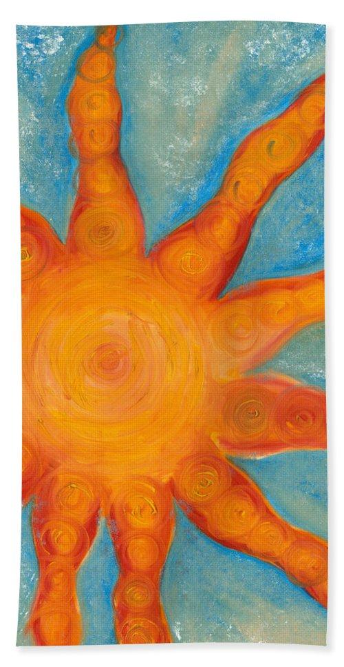 Sun Hand Towel featuring the painting Sunburst by Jessica Rosen