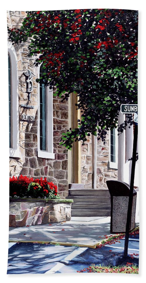 Autumn Hand Towel featuring the painting Sunbury Street by Christopher Lyter