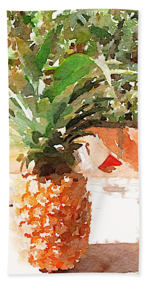 Pineapple Bath Towel featuring the digital art Sunday Brunch by Shannon Grissom