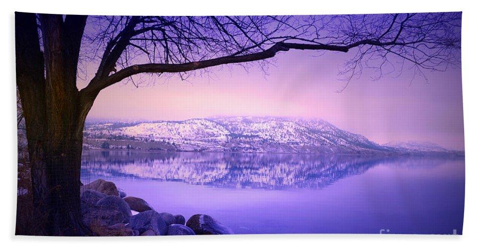 Mountains Hand Towel featuring the photograph Sunday Morning At Okanagan Lake by Tara Turner
