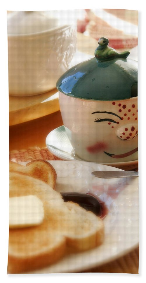 Still Life Bath Sheet featuring the photograph Sunday Morning Jelly Jar by Peter Tellone