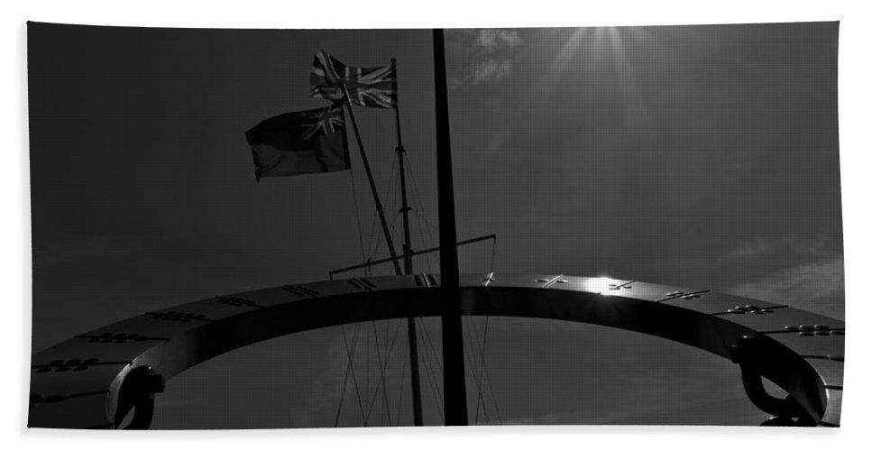 Sun Bath Sheet featuring the photograph Sundial Silhouette by David Pyatt