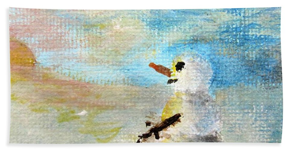 Snow Hand Towel featuring the painting Sundown Snowman by Laurie Morgan